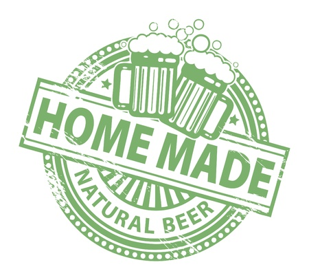Grunge rubber stamp, with the Beer Mugs and text home made natural beer written inside Vector