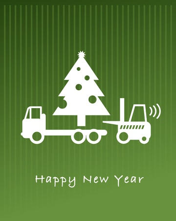 lift trucks: Happy New Year greeting card - fork lift truck at work