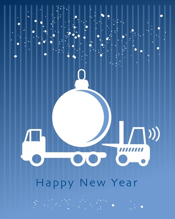 lift truck: Happy New Year greeting card - fork lift truck at work