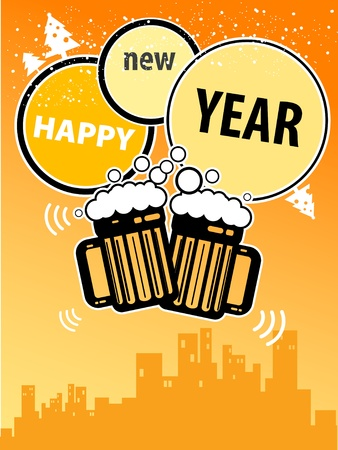 Happy New Year greeting card with beer mugs Vector