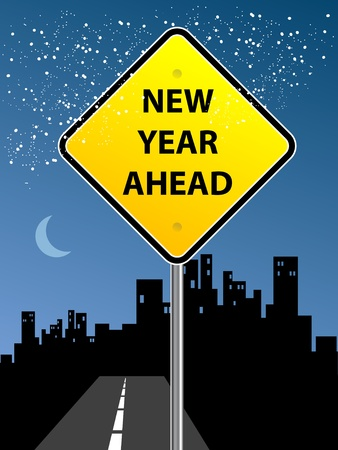 31: New Year Ahead sign on urban background