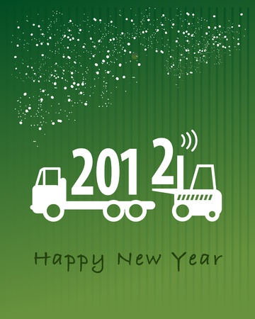 lift truck: Feliz A�o Nuevo de tarjetas de felicitaci�n - cami�n de tenedor ascensor en el trabajo Vectores