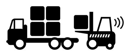 montacargas: Icono, camión tenedor ascensor en el trabajo