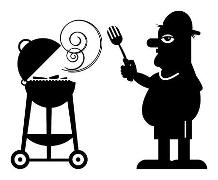 Man and Grill Stock Vector - 14624942