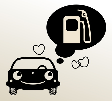 petrol stations: Car thinking about fuel