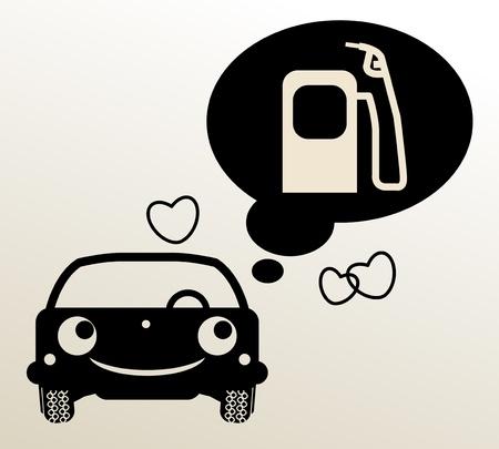 bomba de gasolina: Coches pensando en el combustible