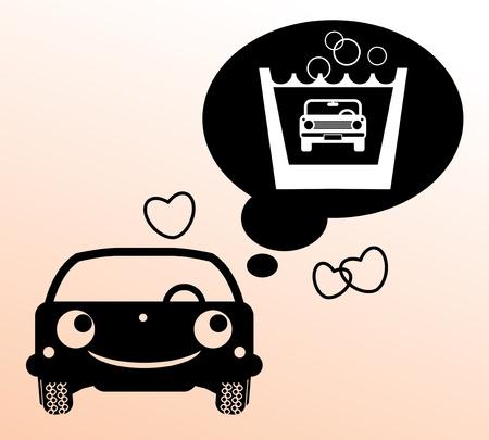 wash drawing: Car thinking about wash Illustration