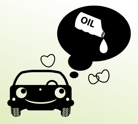 car oil: Car thinking about oil