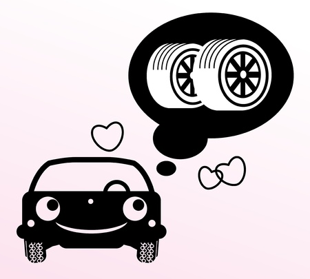 Car thinking about tires Vector