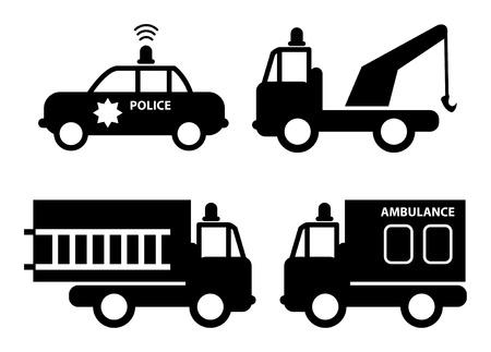 camion de bomberos: Ambulancia, coche polic�a, coche de bomberos y las siluetas de gr�as Vectores