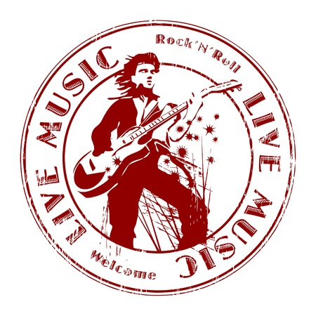 Grunge rubber stamp with text live music written inside Vector