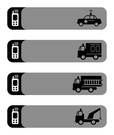 Ambulance, police car, fire truck and tow truck silhouettes in empty phone stickers Vector