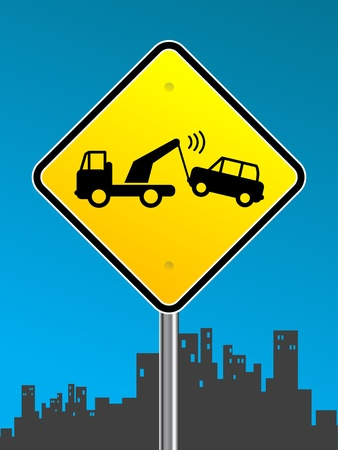 Warning tow away zone sign on urban background Vector