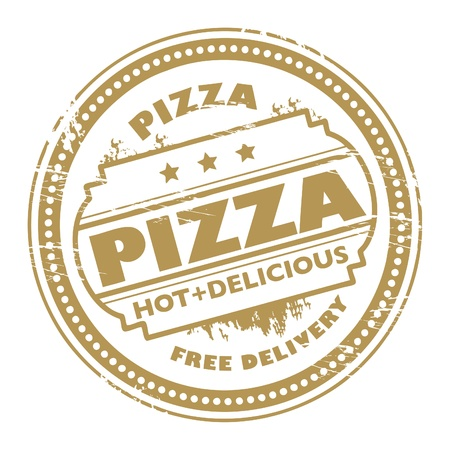 Grunge stamp with text pizza - free delivery written inside Vector