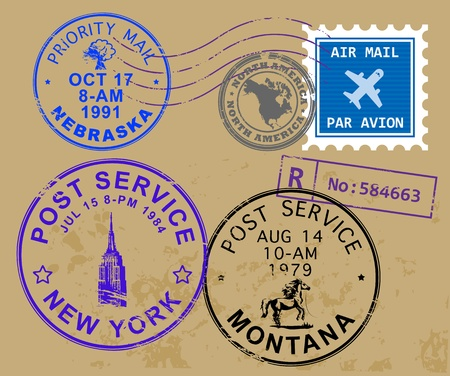 Set of USA post stamp symbols