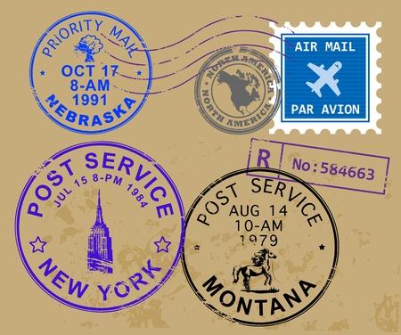 Set of USA post stamp symbols Stock Photo - 14617001