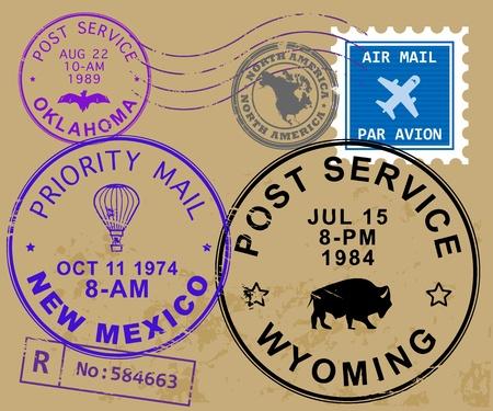 Set of USA post stamp symbols