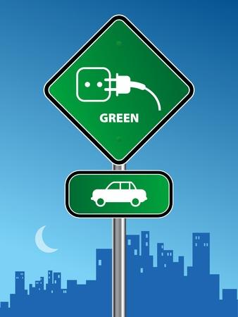 auto sign: Signo coche verde sobre fondo urbano