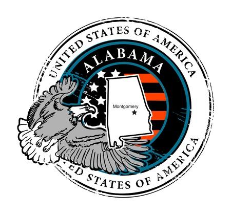 alabama flag: Grunge rubber stamp with name of Alabama