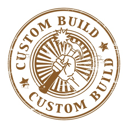 Grunge rubber stamp with the text custom build written inside the stamp Vector