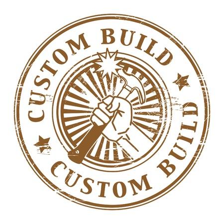 construct: Grunge rubberen stempel met de tekst custom build geschreven in de stempel