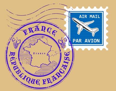 sello postal: Conjunto de s�mbolos de correo a�reo, Francia