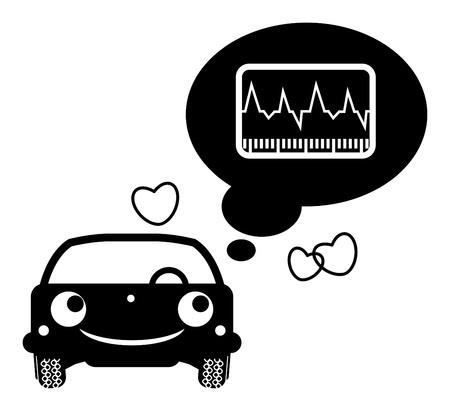servicing: Car thinking about automotive diagnostics