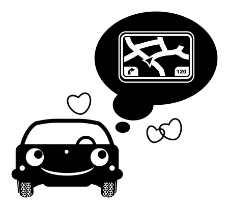 Car thinking about GPS system Vector
