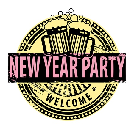Grunge rubber stamp, with the Beer Mugs and text New Year Party written inside Stock Vector - 14666275