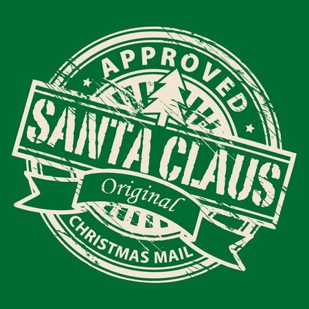 approved stamp: Grunge sello con el �rbol de Navidad y el texto Santa Claus - Mail Navidad escrita dentro del sello