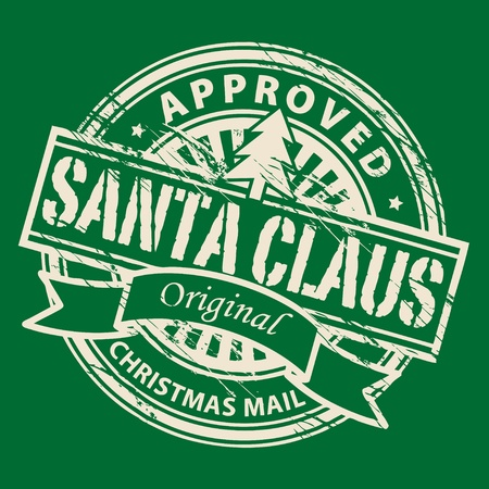 Grunge stamp with Xmas Tree and the text Santa Claus - Christmas Mail written inside the stamp Vector