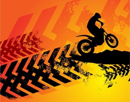 silueta moto: Motocross de fondo
