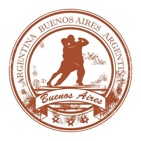 Grunge rubber stamp with tango dancers and the words Buenos Aires, Argentina inside Stock Vector - 14666363