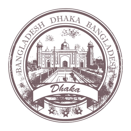 Grunge rubber stamp with the word Dhaka, Bangladesh inside Vector