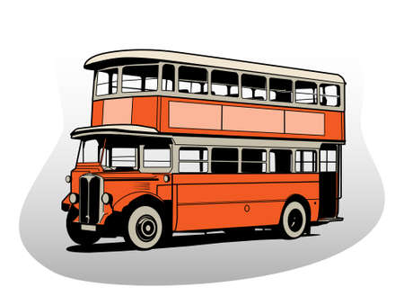 decker: illustration of british old red double decker bus Illustration