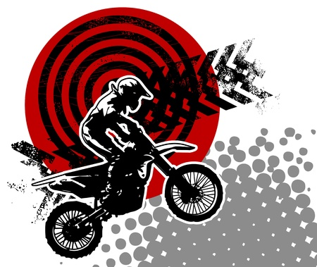 motorcycle rider: Motocross background Illustration