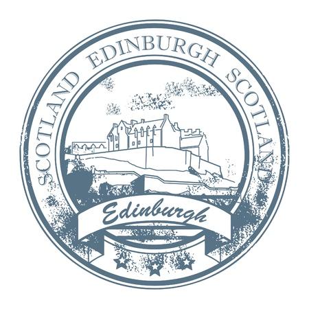 edinburgh: Grunge rubber stamp with words Edinburgh, Scotland inside Illustration