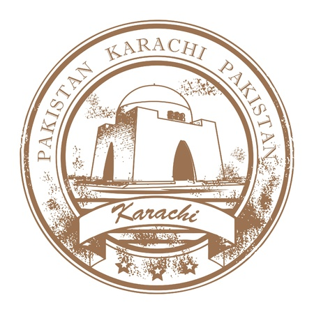 Grunge rubber stamp with the words Karachi, Pakistan inside Stock Vector - 14666374