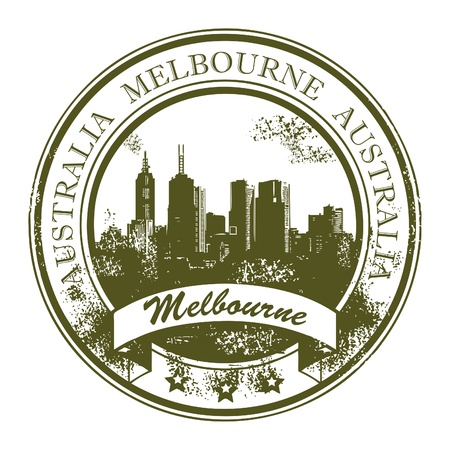 Grunge rubber stamp with the word Melbourne, Australia inside Vector