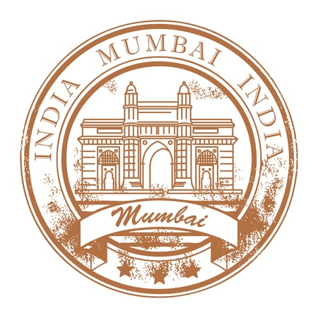 Grunge rubber stamp with ship and the word Mumbai Stock Vector - 14666364