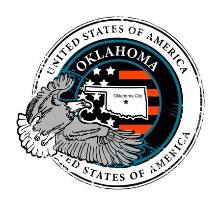 oklahoma: Grunge rubber stamp with name of Oklahoma
