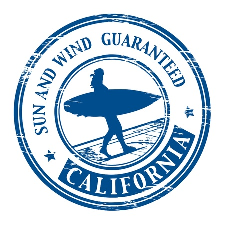 surf silhouettes: Grunge rubber stamp with name of California Illustration