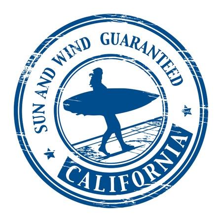 surf silhouettes: Grunge timbro di gomma con il nome di California