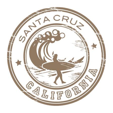 surf silhouettes: Grunge timbro di gomma con il nome di Santa Cruz, California Vettoriali