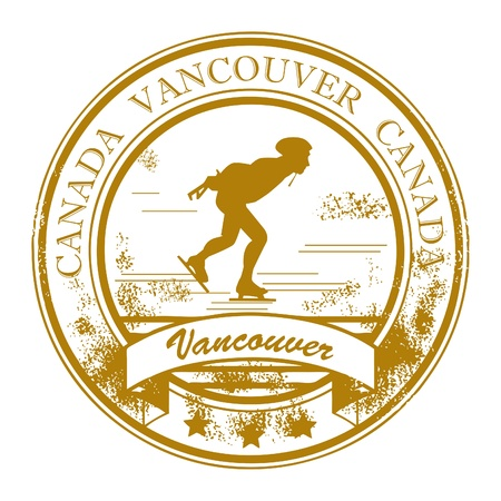 canada stamp: Grunge rubber stamp with word Vancouver, Canada inside