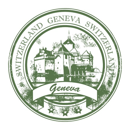 switzerland: Grunge rubber stamp with Chillon castle and the words Geneva, Switzerland inside