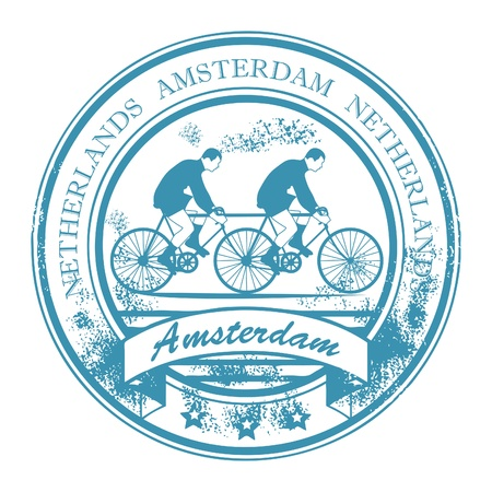 Grunge rubber stamp with bicycle and the words Amsterdam, Netherlands inside