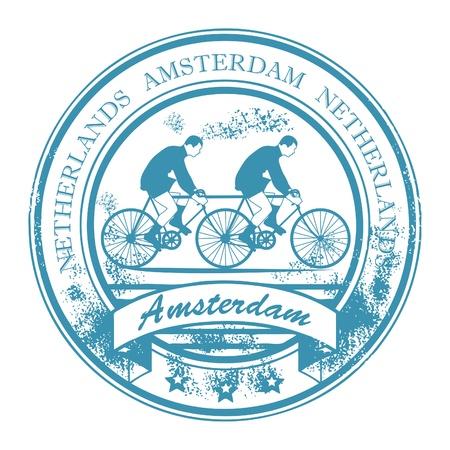 the netherlands: Grunge rubber stempel met de fiets en de woorden Amsterdam, Nederland binnen Stock Illustratie