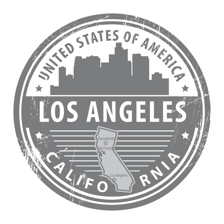 los angeles: Grunge rubber stamp with name of California, Los Angeles