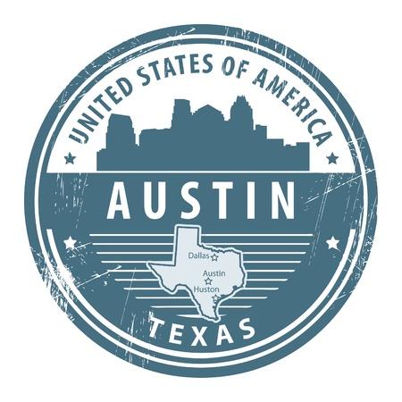 austin: Grunge Stempel mit Namen von Texas, Austin Illustration
